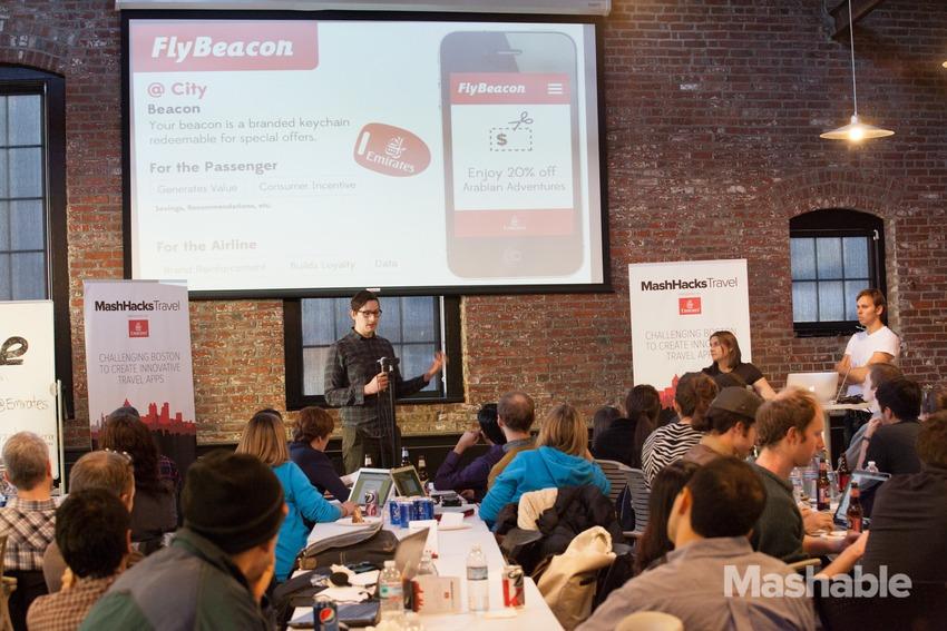 Fly Beacon Pitch at Mash Hacks Hackathon in Cambridge