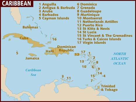 Map of St Thomas, Virgin Islands -